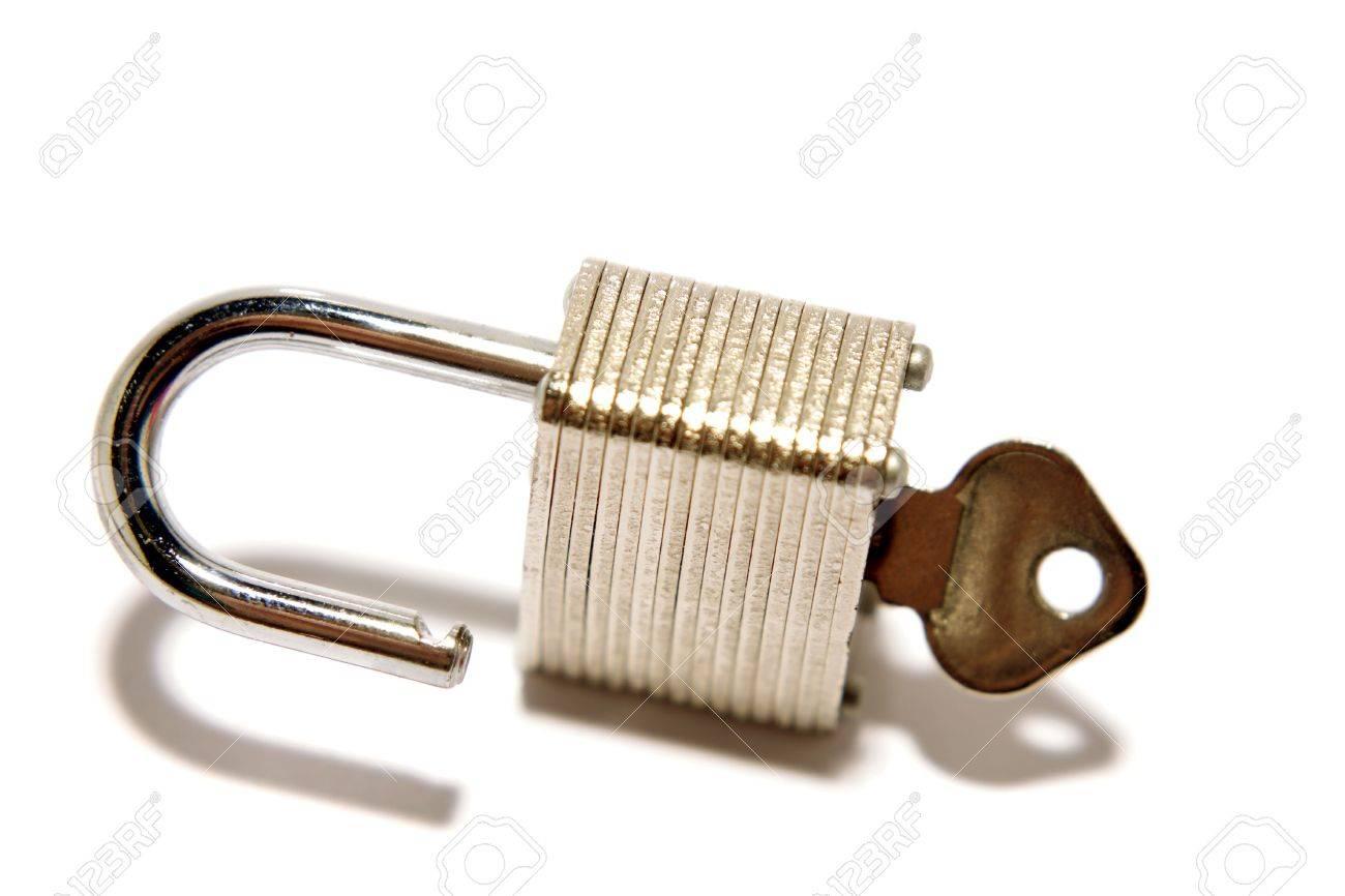 Open padlock and key Stock Photo - 3103115