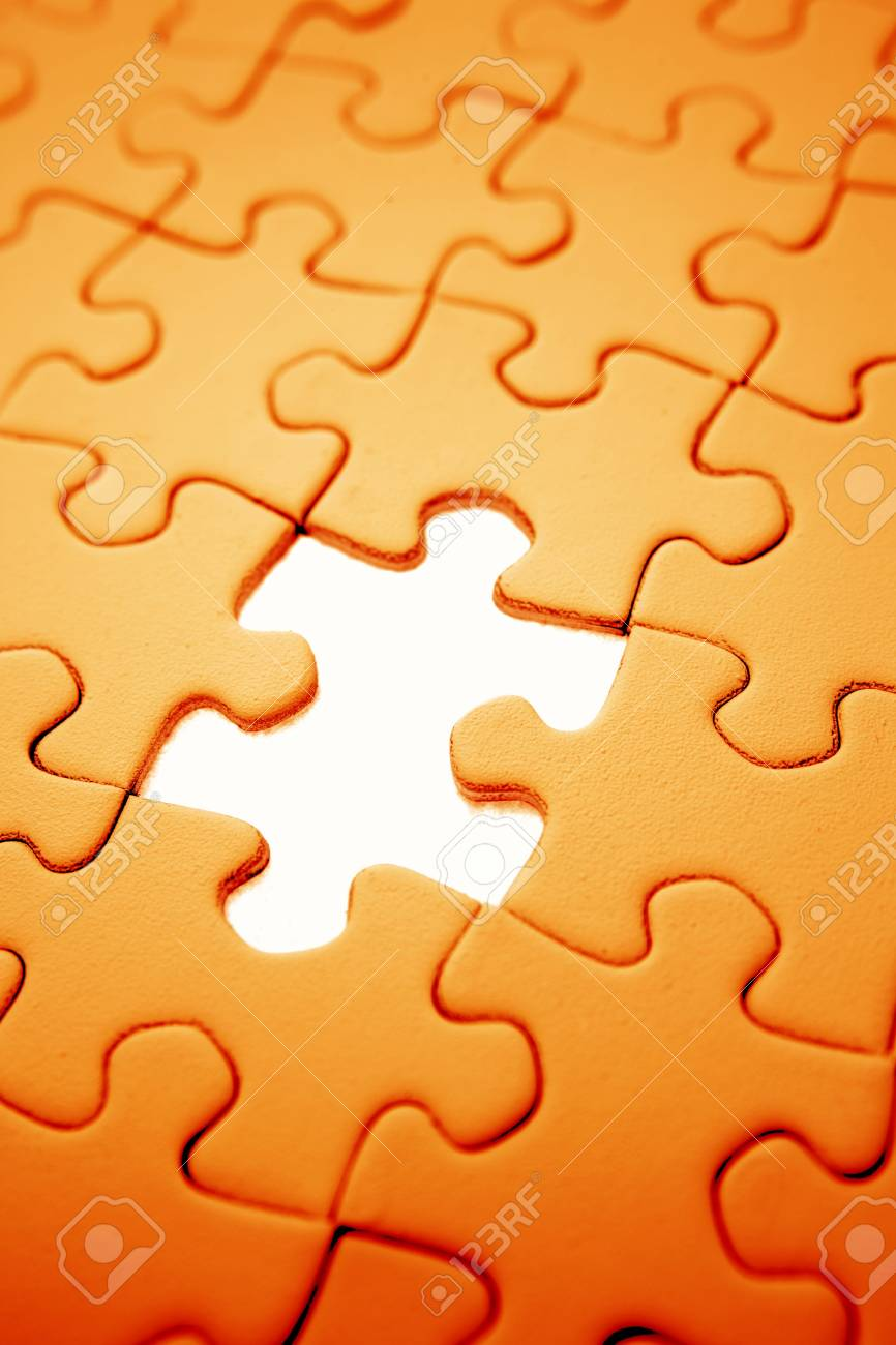 Piece missing from jigsaw puzzle Stock Photo - 3217234