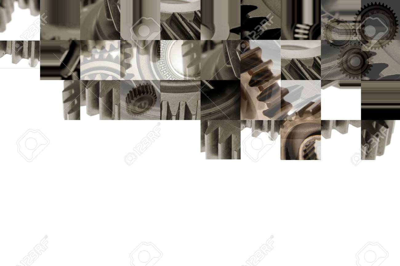 Assorted steel gears collage on white. Copy space. Stock Photo - 5711859