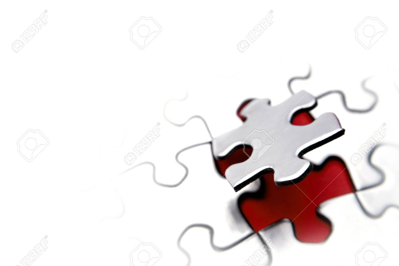 Jigsaw puzzle. Piece above gap. Copy space Stock Photo - 5795875