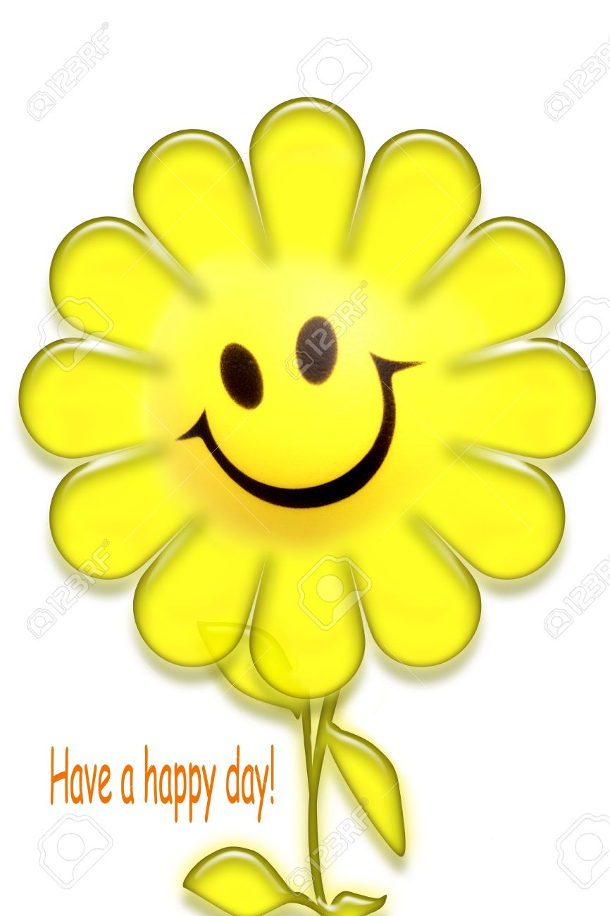 Smiling Face On Flower Over White. Have A Happy Day Message. Stock