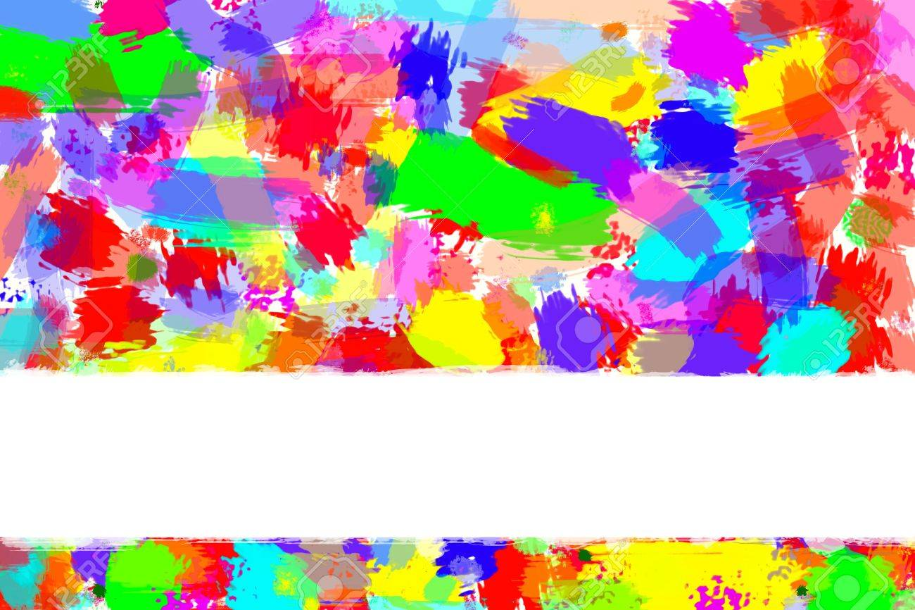 Splashed paint colors on white. Copy space. Stock Photo - 5986467