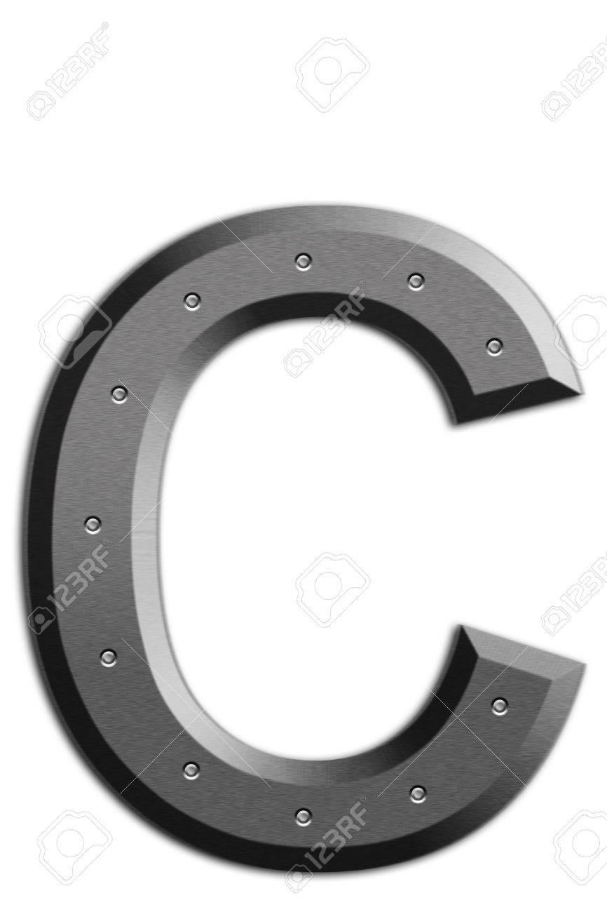 Metallic letter C isolated on white background Stock Photo - 6240483