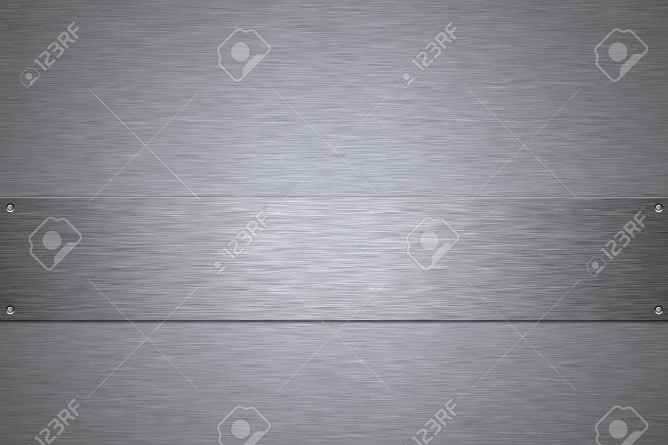 Rivets in brushed steel background. Copy space. Stock Photo - 6302095