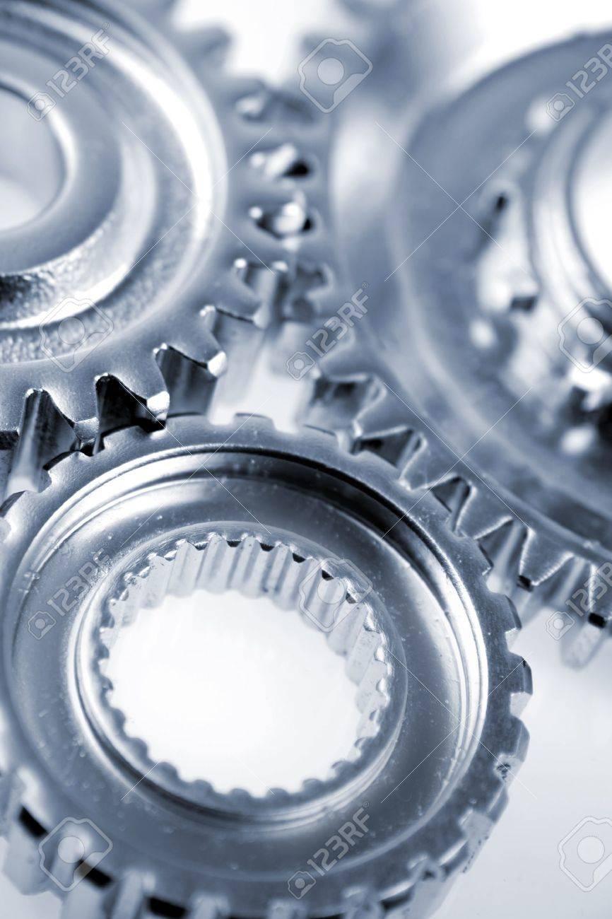 Three metal gears over white Stock Photo - 7341975