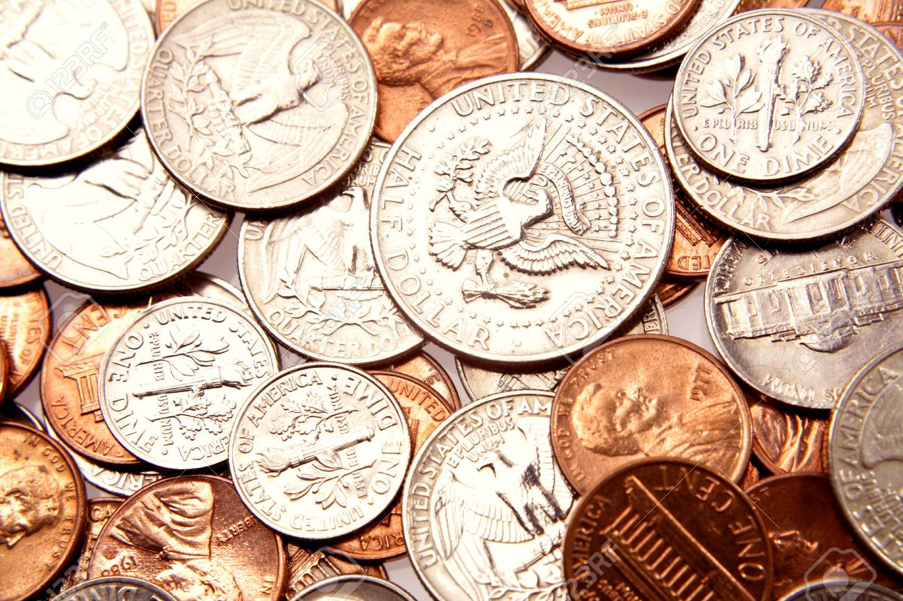 Closeup of assorted American coins Stock Photo - 7404498