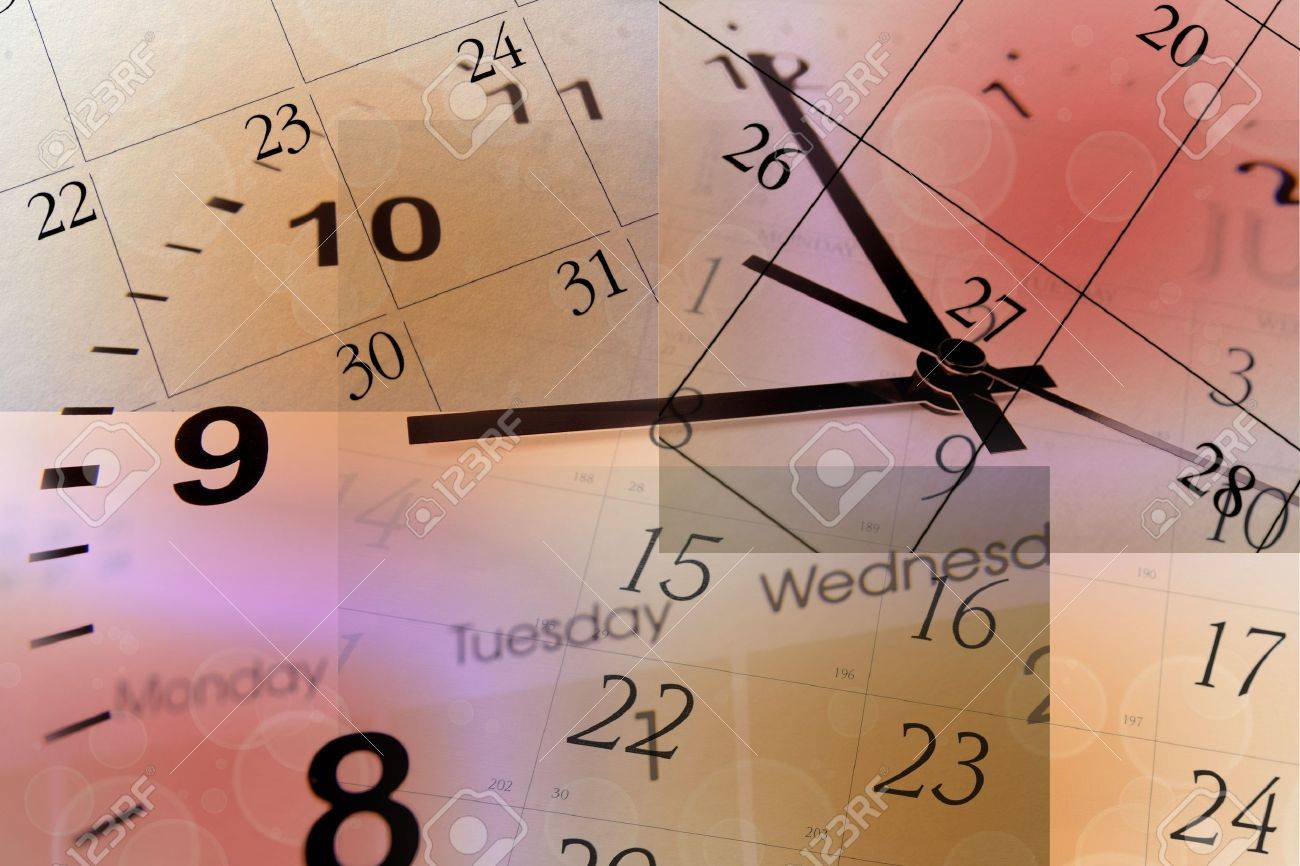 Clock Face And Calendars On Color Background Stock Photo, Picture ...