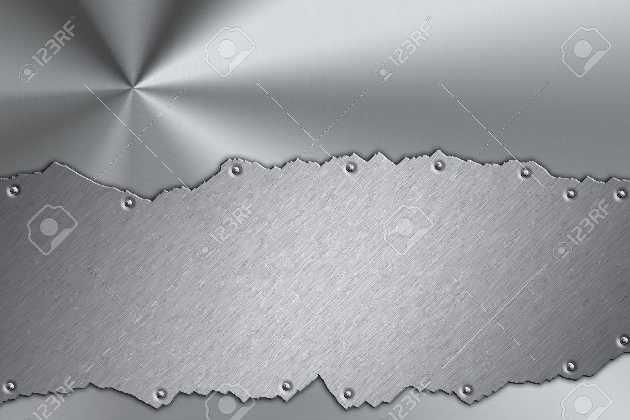 Brushed steel plate riveted to grill background Stock Photo - 7658017