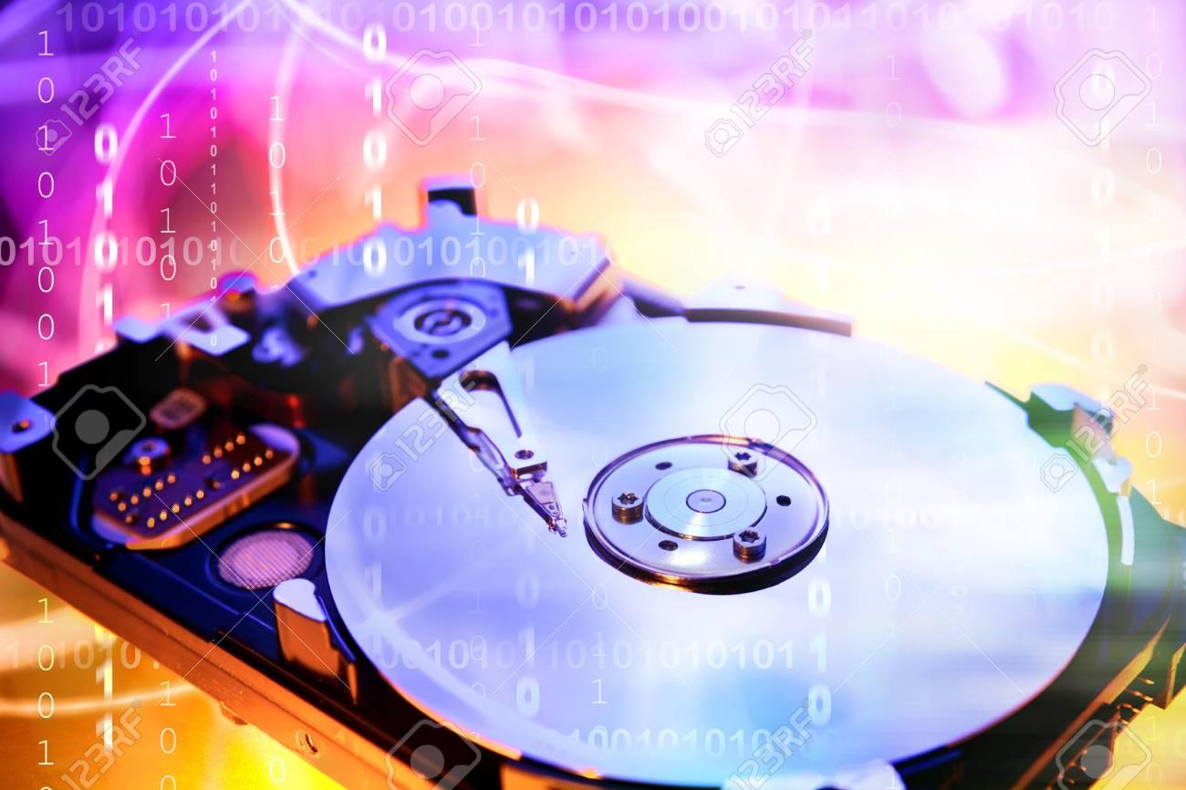 Computer hard-drive and binary codes Stock Photo - 7658029