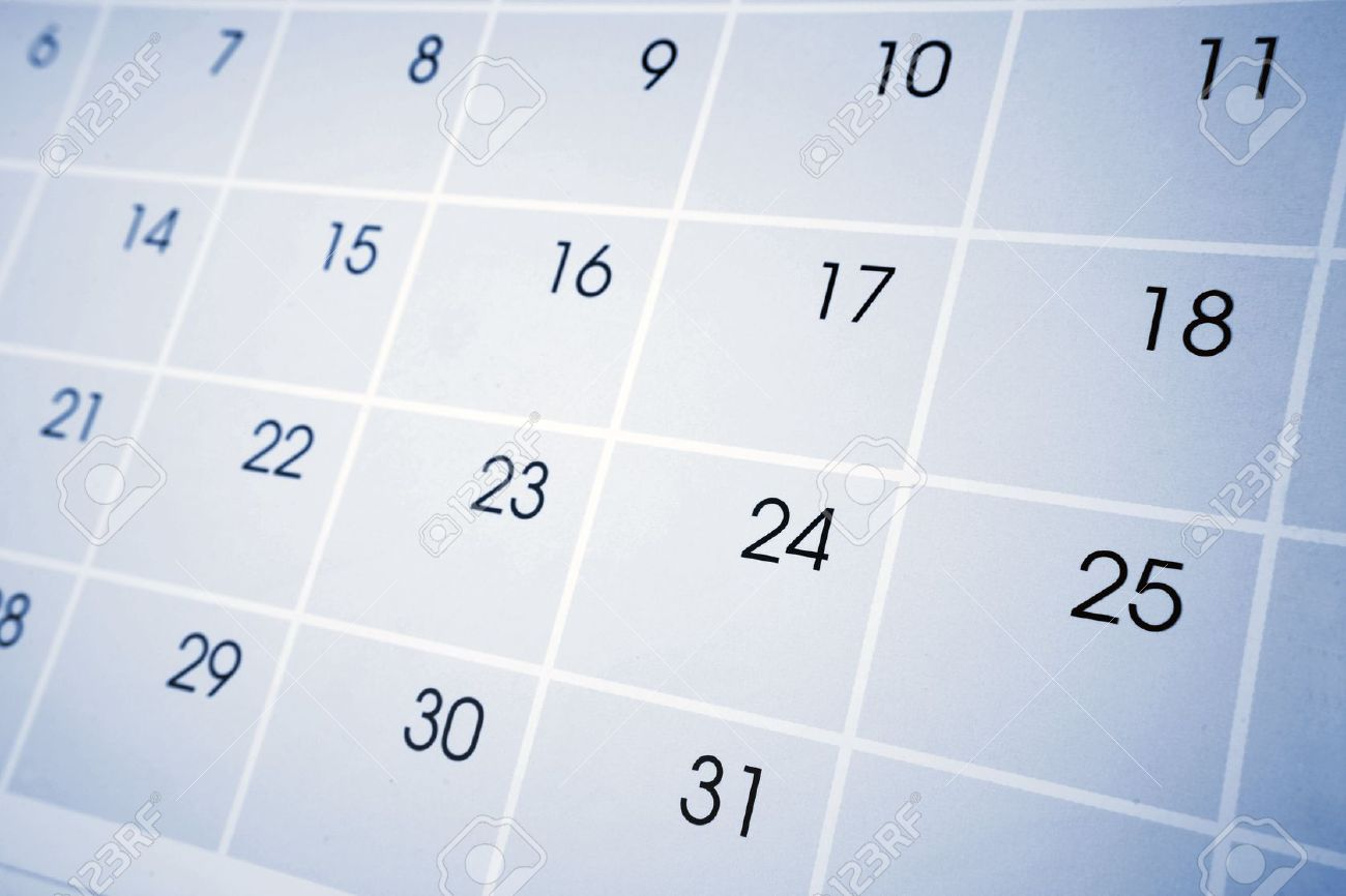 Closeup Of Numbers On Calendar Page Stock Photo, Picture And ...