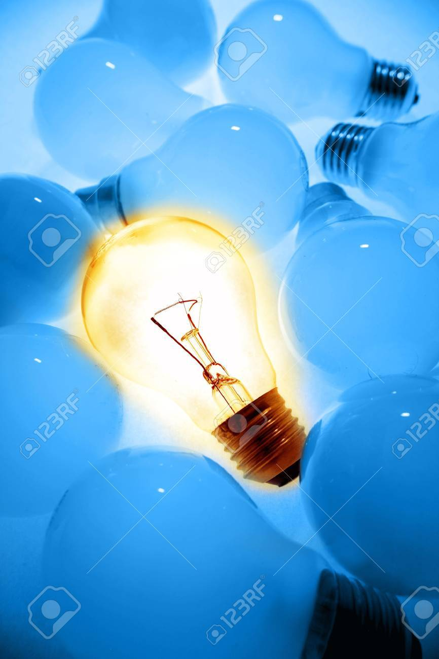 One bright bulb in crowd Stock Photo - 7733448