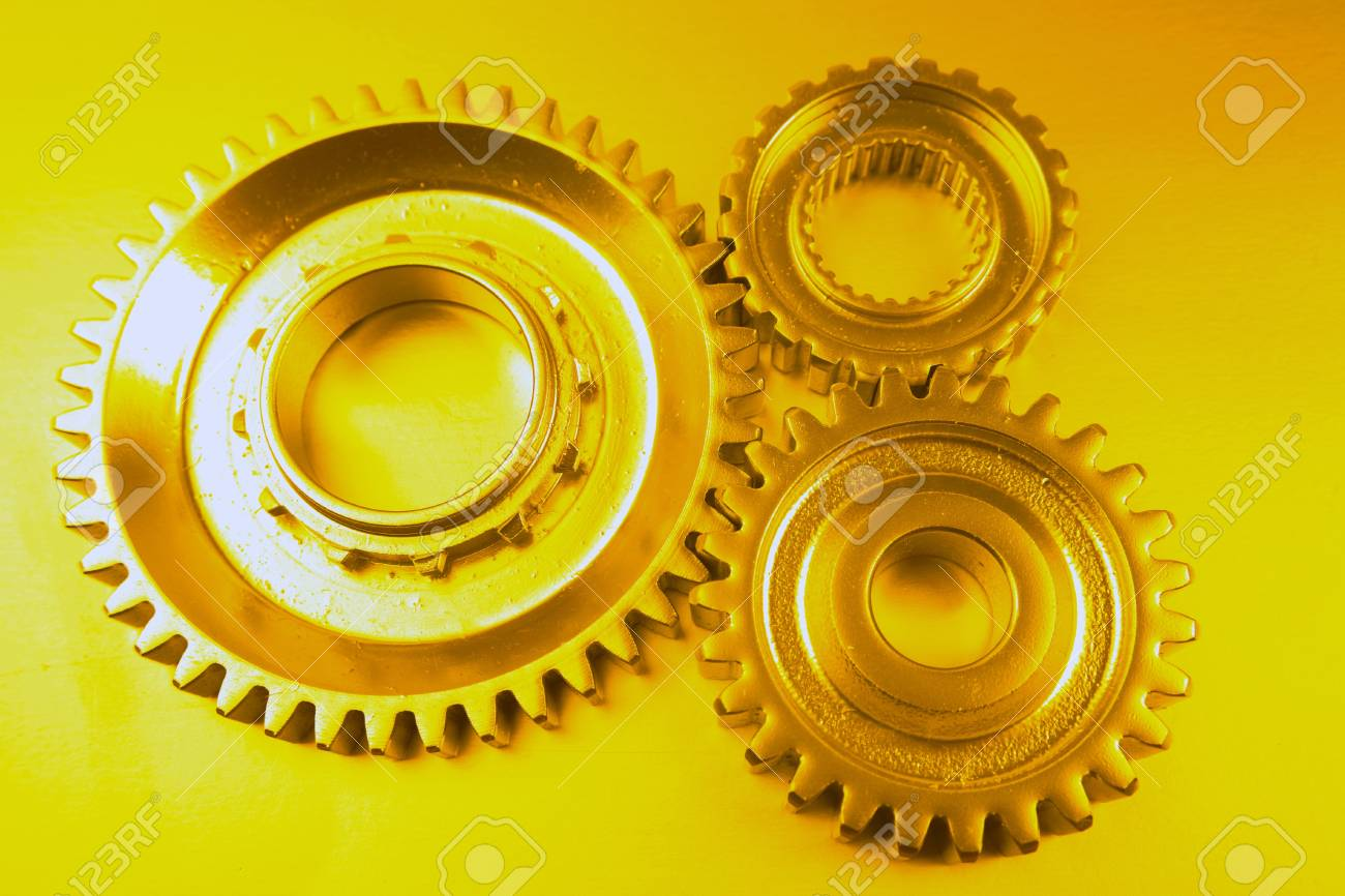 Three steel cog wheels together Stock Photo - 8593015