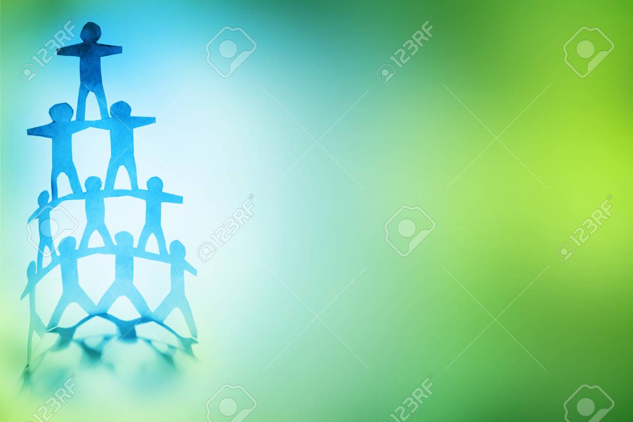 Human team pyramid on color background Stock Photo - 8862601