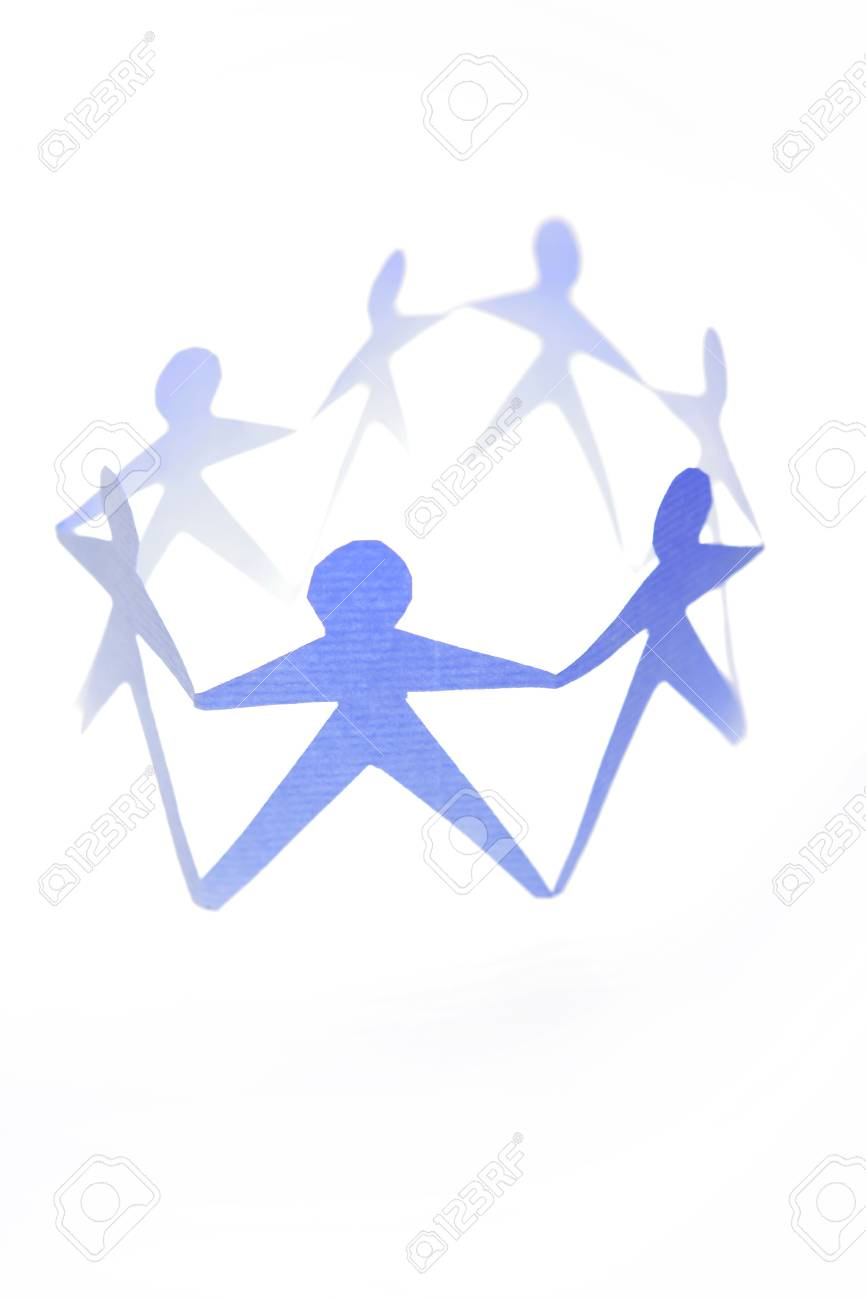 Paper doll people holding hands Stock Photo - 9070206
