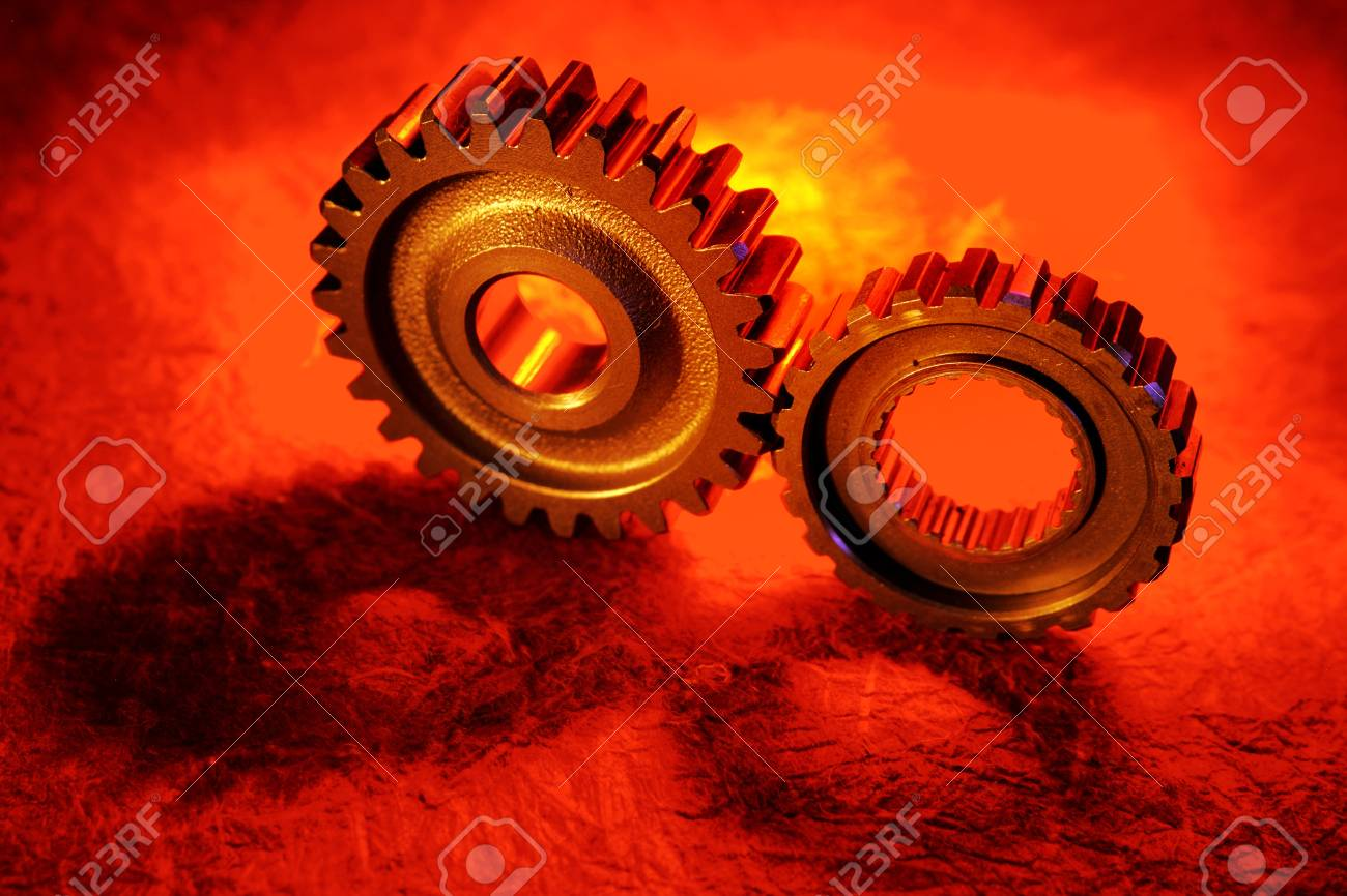 Two gears meshing together Stock Photo - 9569931