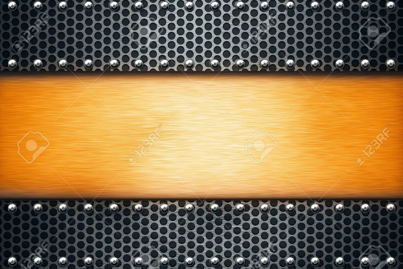 Sheets of metal riveted together. Copy space Stock Photo - 10363042