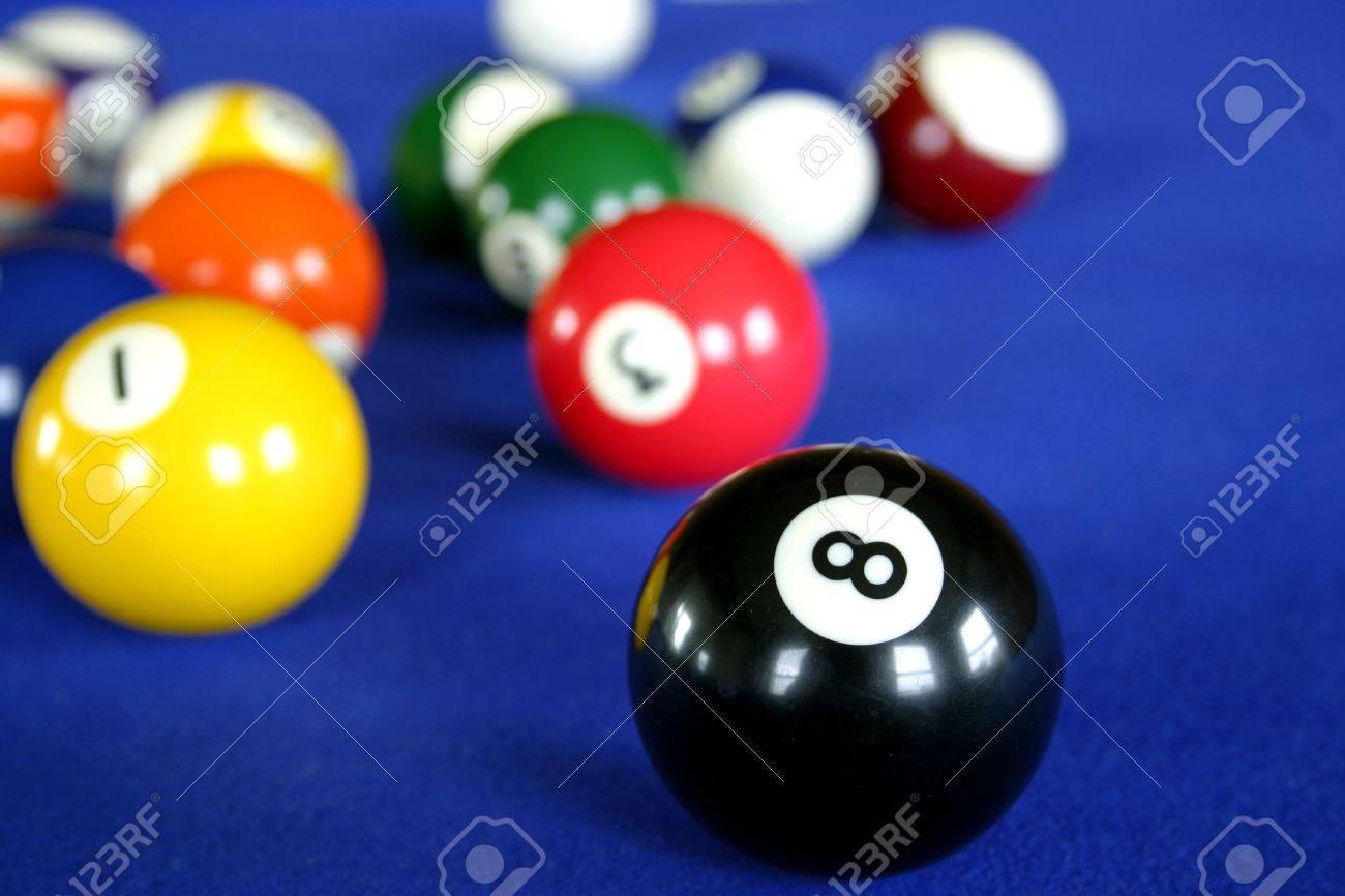 Pool Balls On Blue Pool Table Stock Photo   10545070