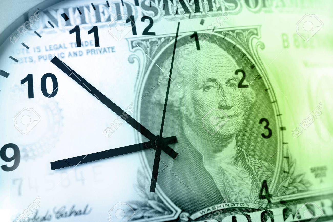 Clock and banknote. Time is money concept Stock Photo - 10732189