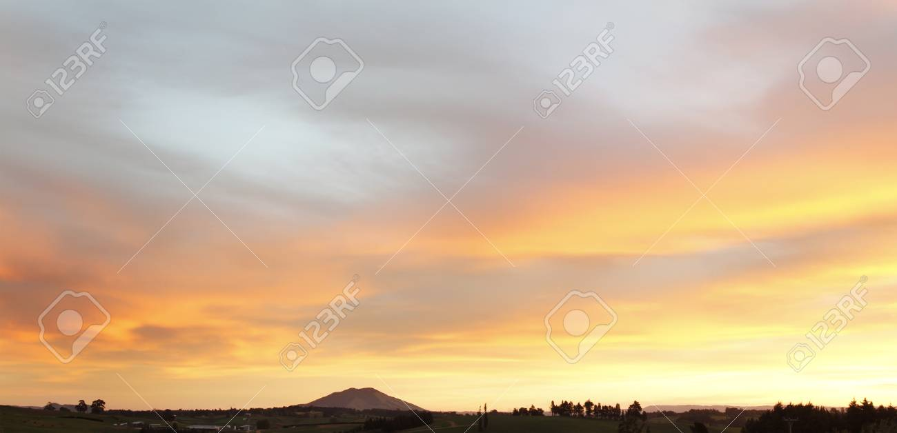 Warm colours in sunset over landscape Stock Photo - 12876533