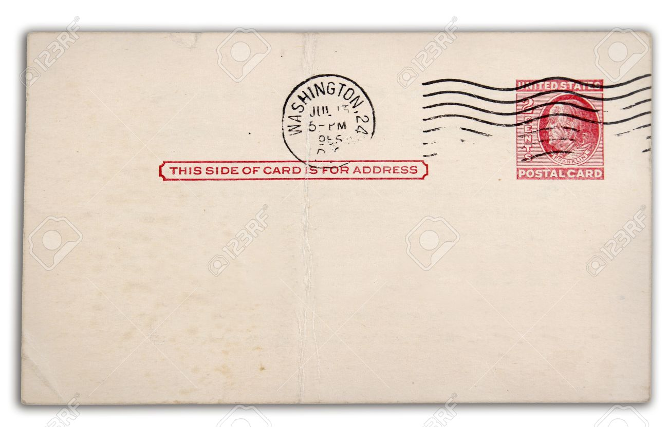 stamp and postmark on old postcard stock photo picture and royalty