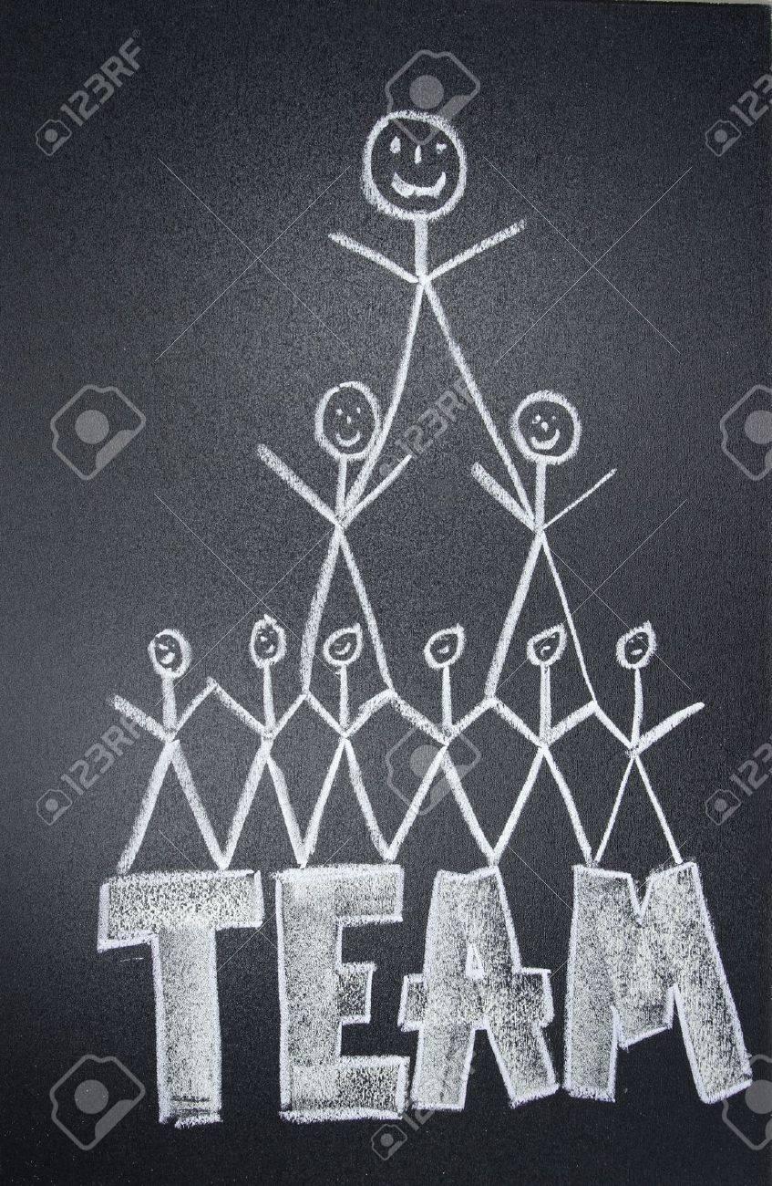People team drawn in chalk on blackboard Stock Photo - 13660129