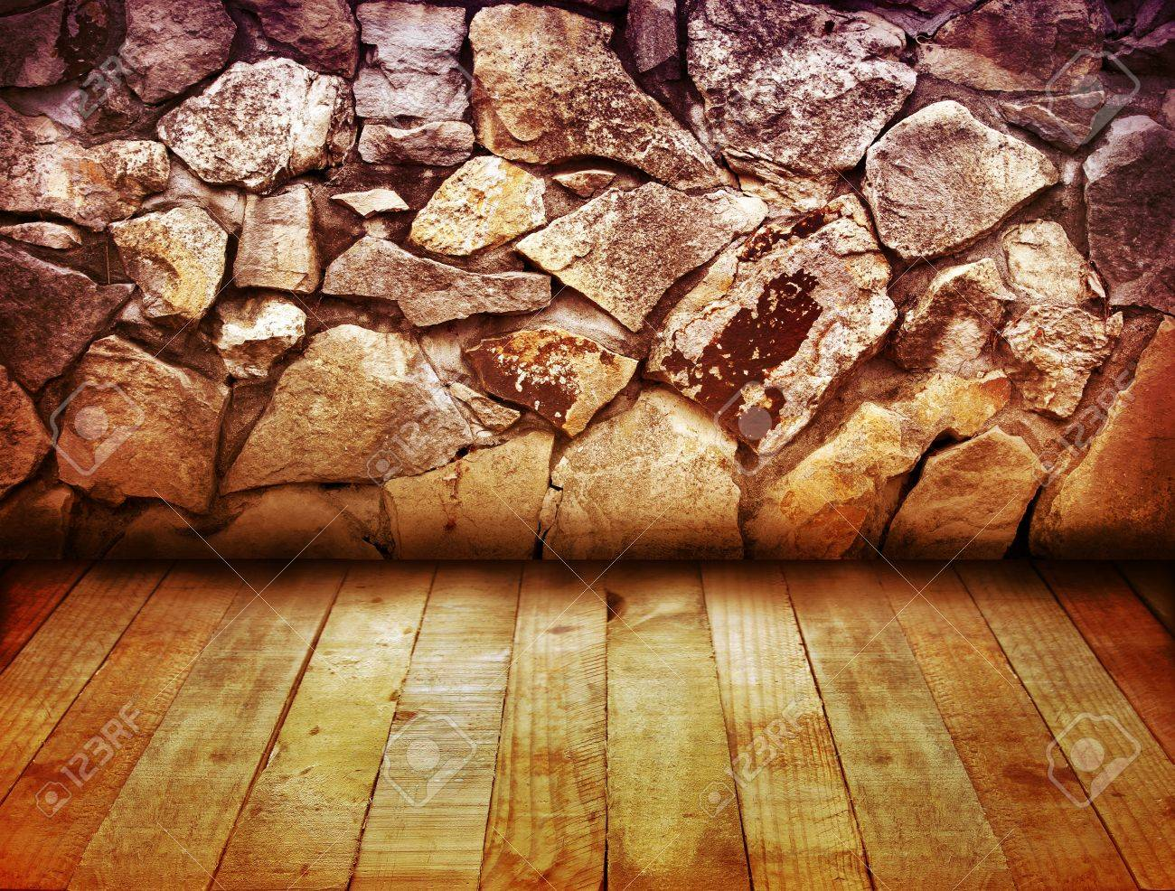 Wooden floorboards and stone wall Stock Photo - 13822295