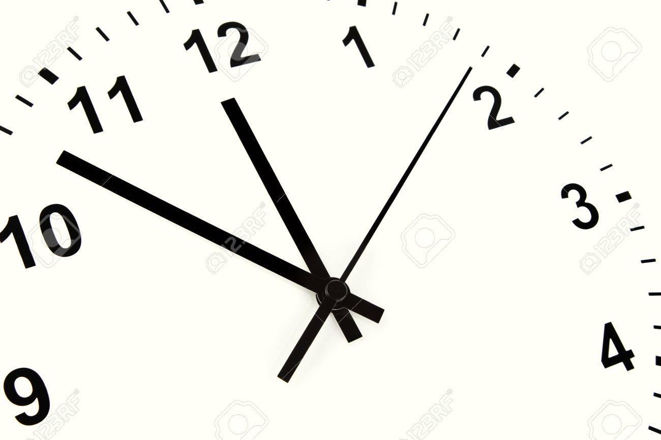 時計の顔に正午を指している手 ...