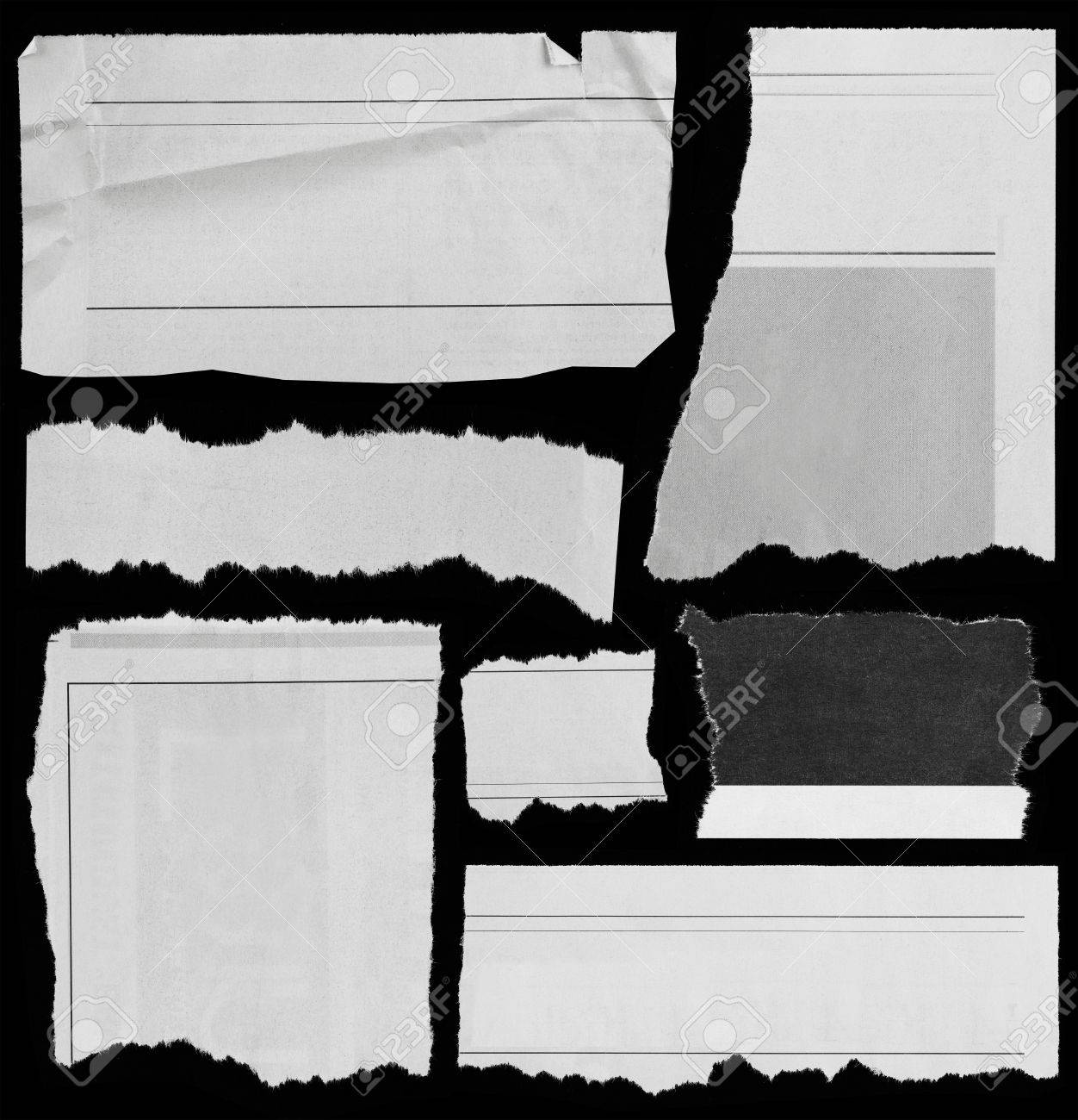 Pieces of torn paper on black  Copy space Stock Photo - 14843000