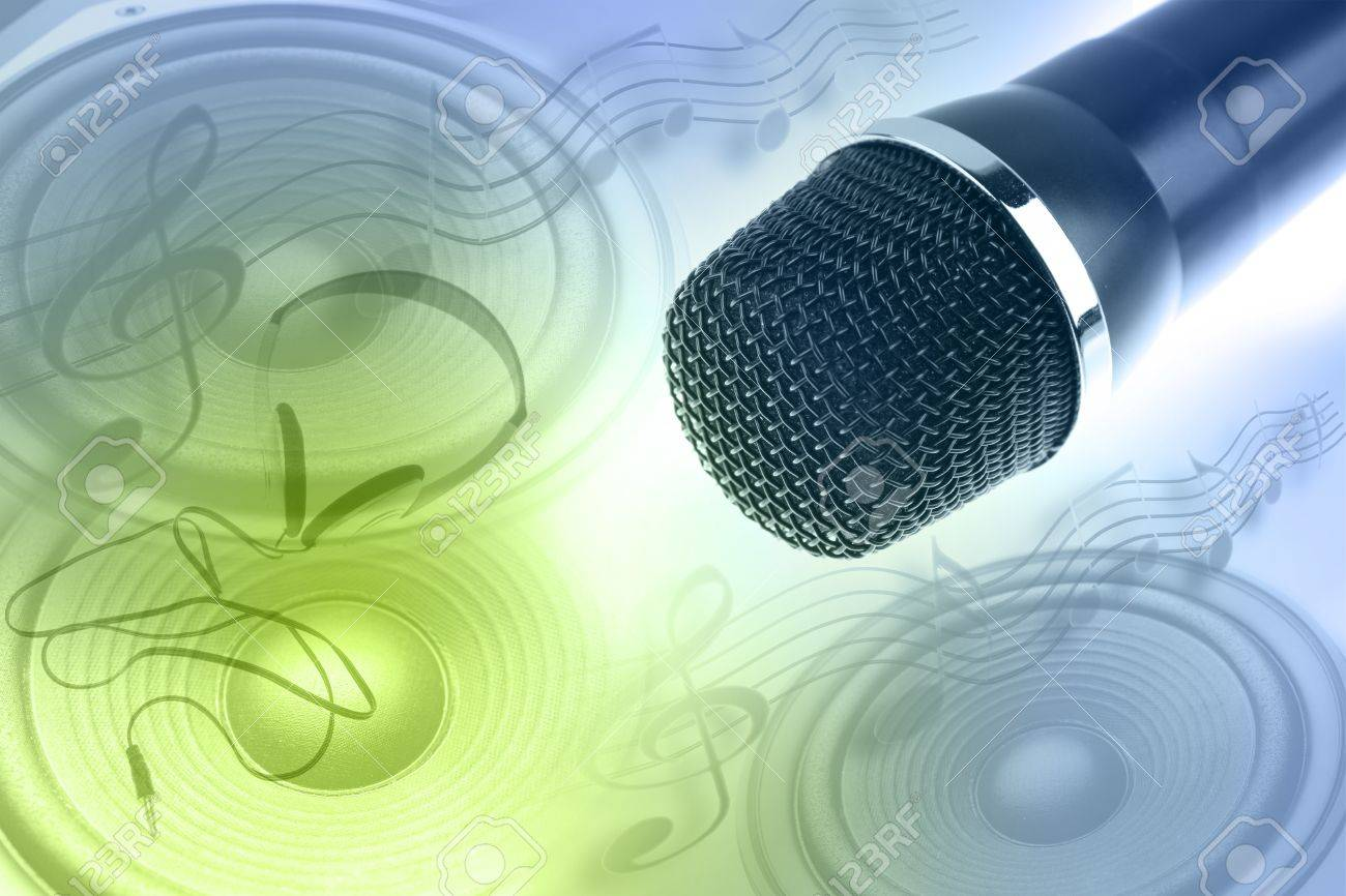 Microphone, speakers, headphones and music notes Stock Photo - 17361030