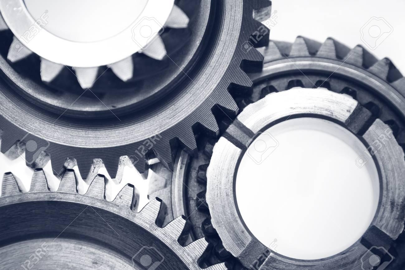 Closeup of three metal cog gears Stock Photo - 18093253