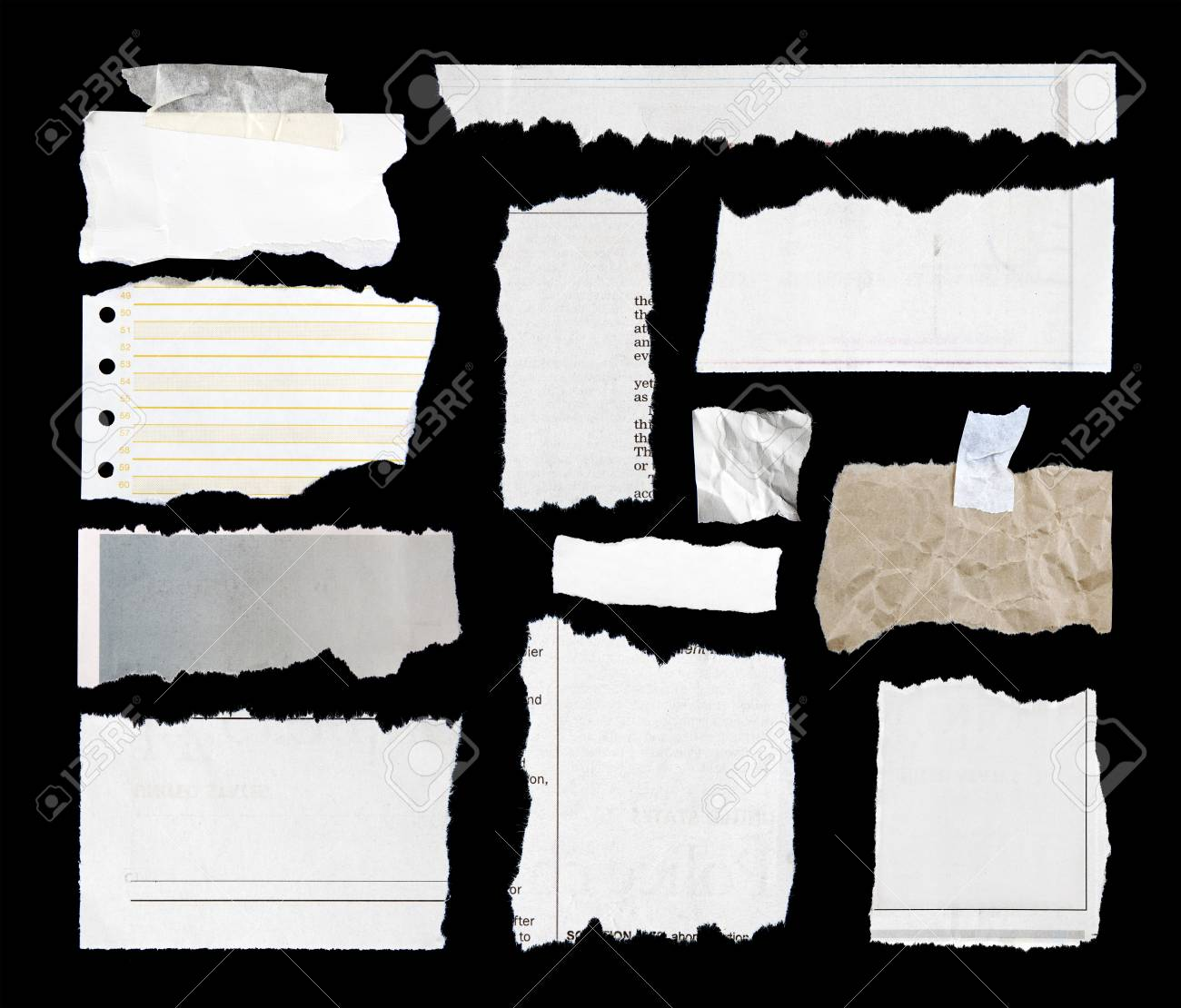 Pieces of torn paper on black. Copy space Stock Photo - 18436534