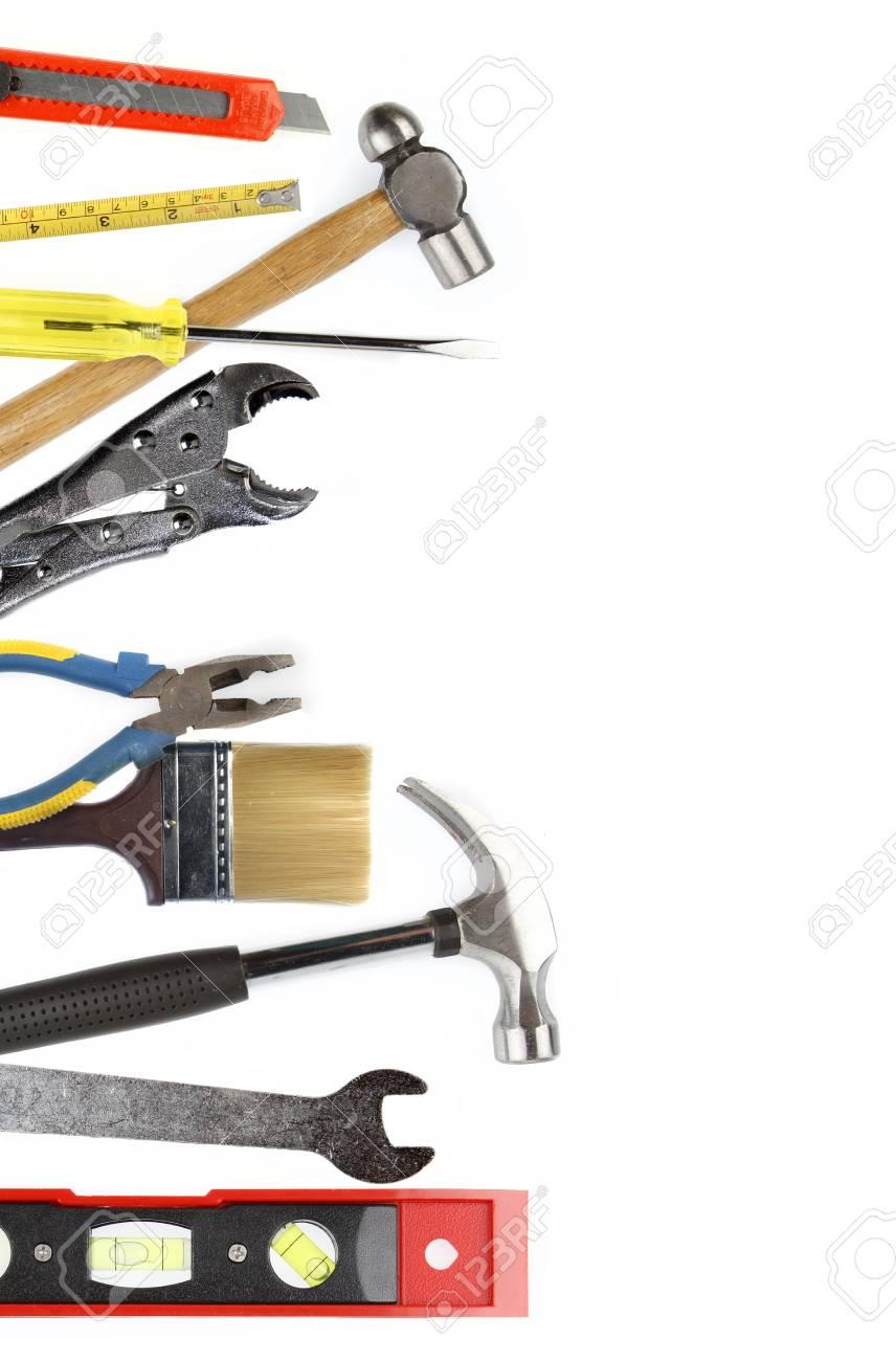 Assortment of tools on plain background Stock Photo - 19027857