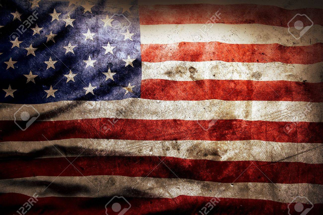 Closeup of grunge American flag Stock Photo - 20917362