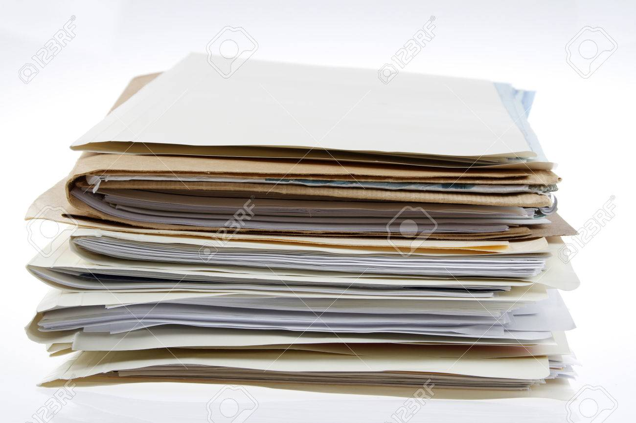 Pile of files on plain background - 47903977