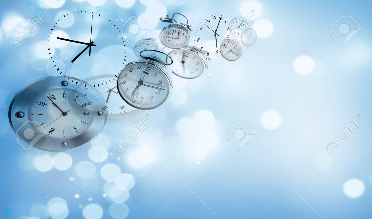 Assorted Clocks On Blue Abstract Background Stock Photo Picture And Royalty Free Image Image 84403689