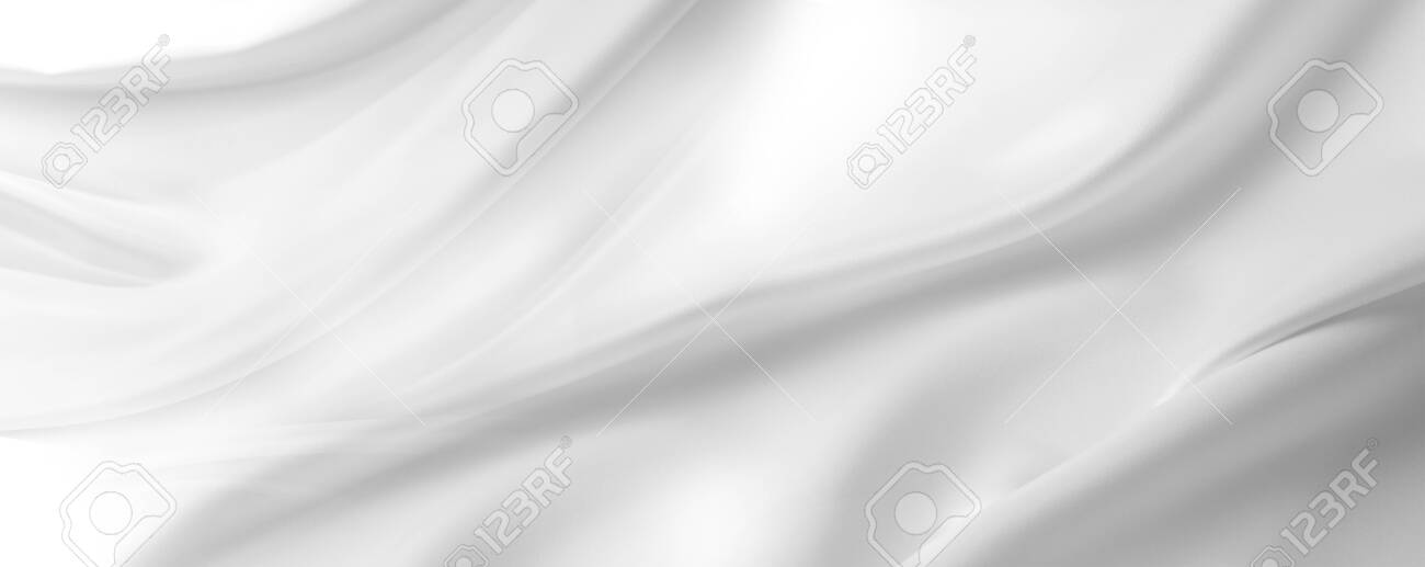 Closeup of rippled white silk fabric lines - 143057065