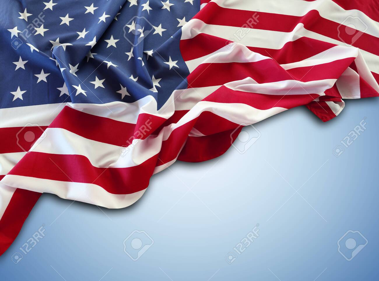 American flag on blue background - 149606530