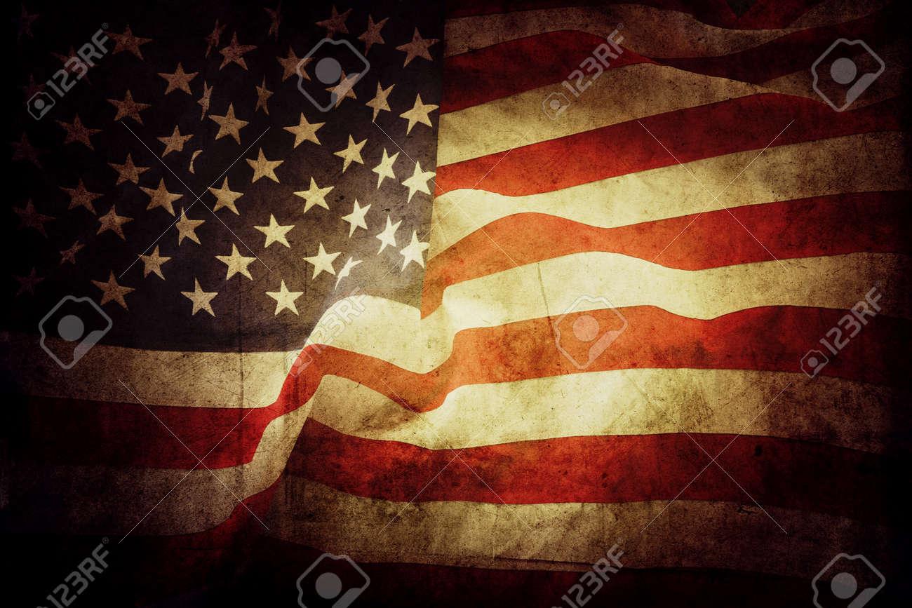 Closeup of grunge American flag - 166033237