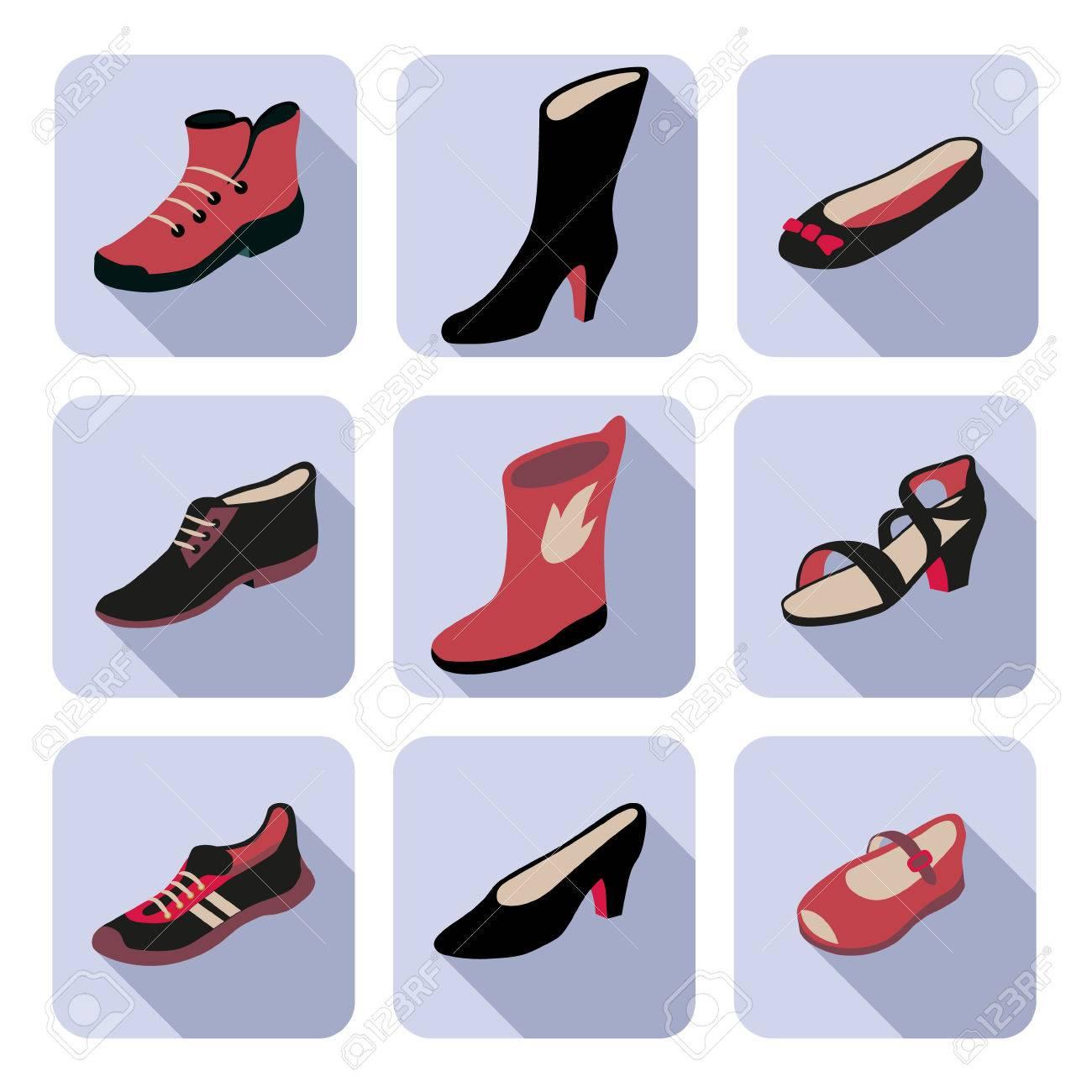 585a35df3 Foto de archivo - Iconos planos con diferentes tipos de zapatos de mujer,  hombre, niños y unisex.