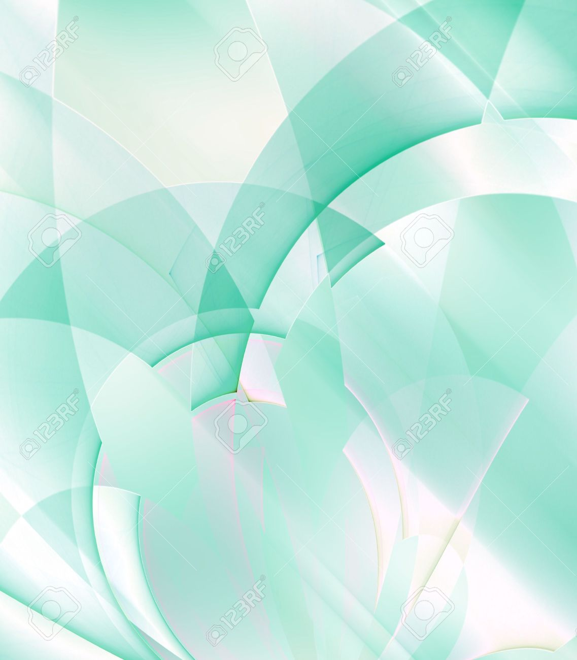 Mint Green Color layered curves and arch patterns in mint green color - fractal