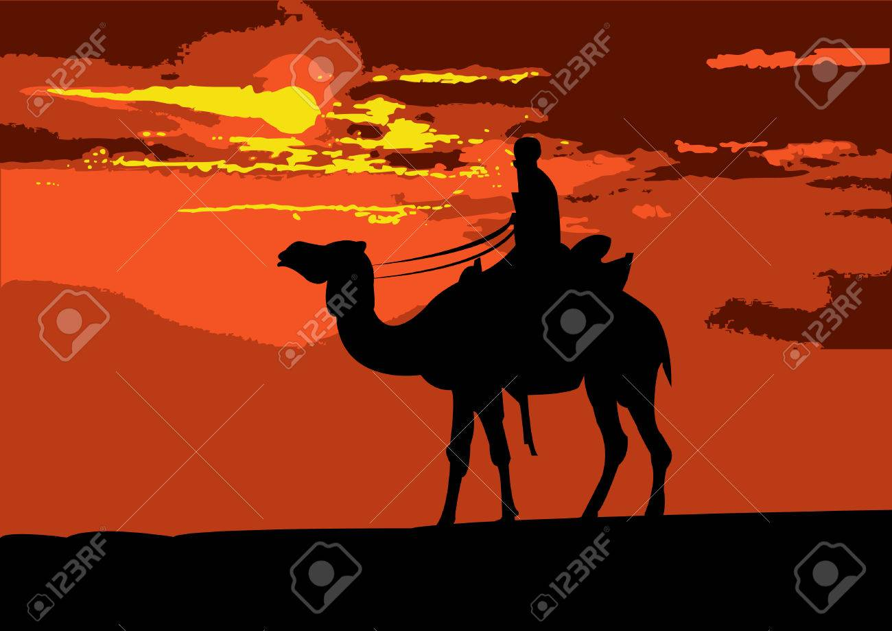 Illustration of a camel rider traveling through the desert, on the sunset - 5197373