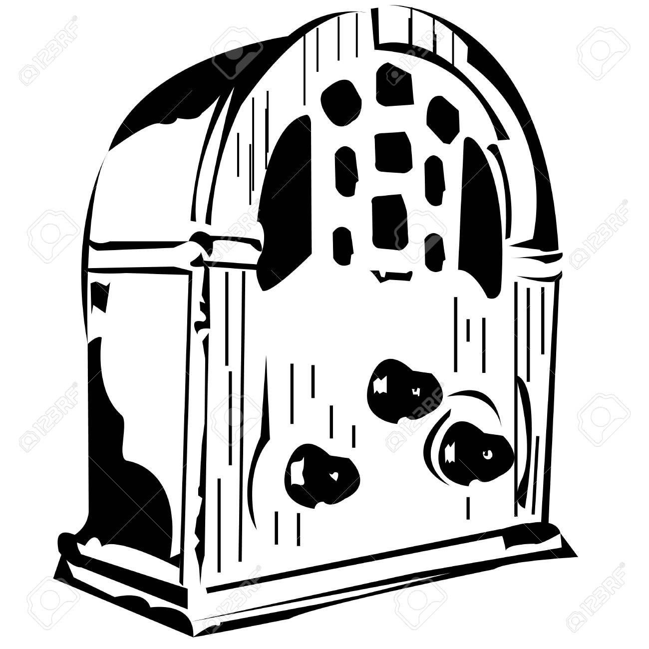 Vector black and white illustration of an old radio Stock Vector - 5217026