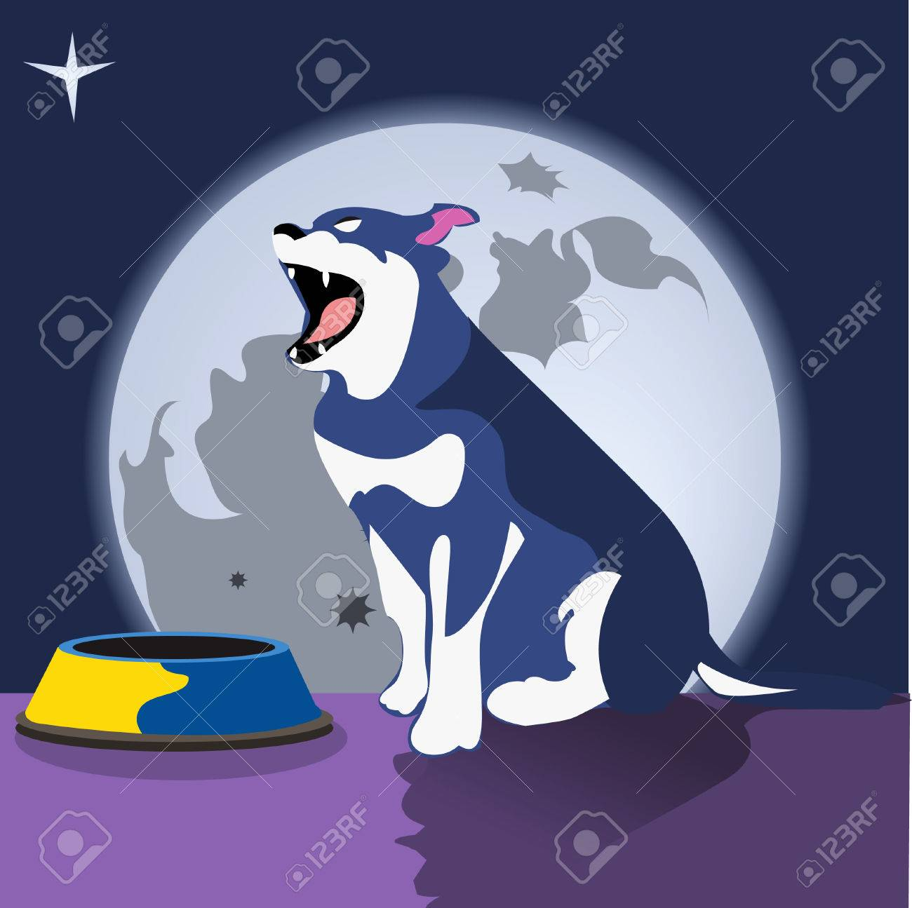 dog in front of the empty dish Stock Vector - 5237756