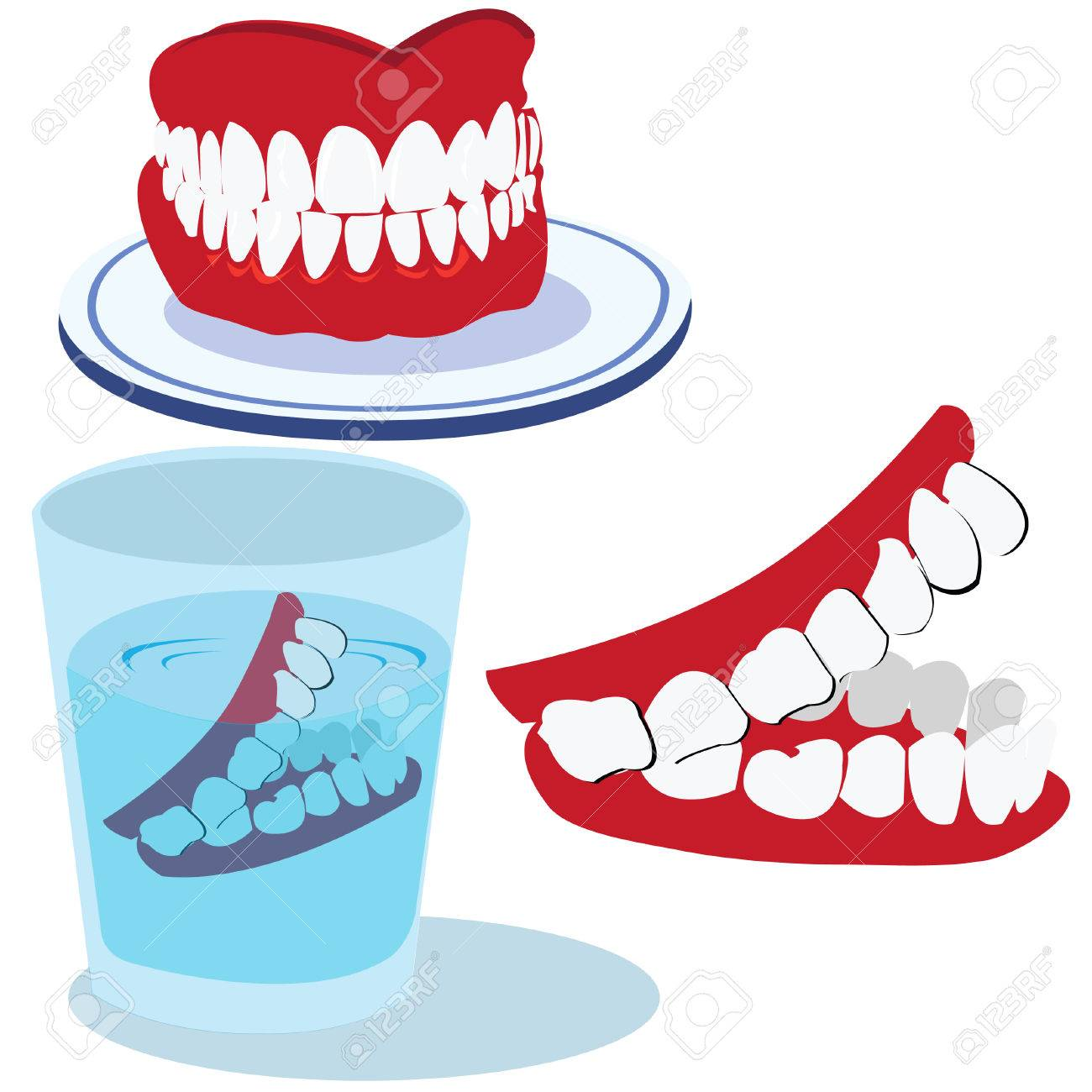 Funny vector illustration of three teeth isolated on white background Stock Vector - 5346032