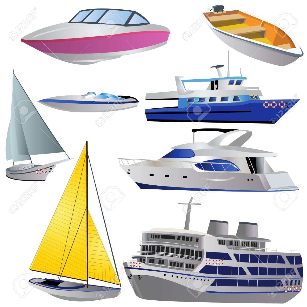 Vector Illustration Of 8 Different Boat Types Isolated On White ...