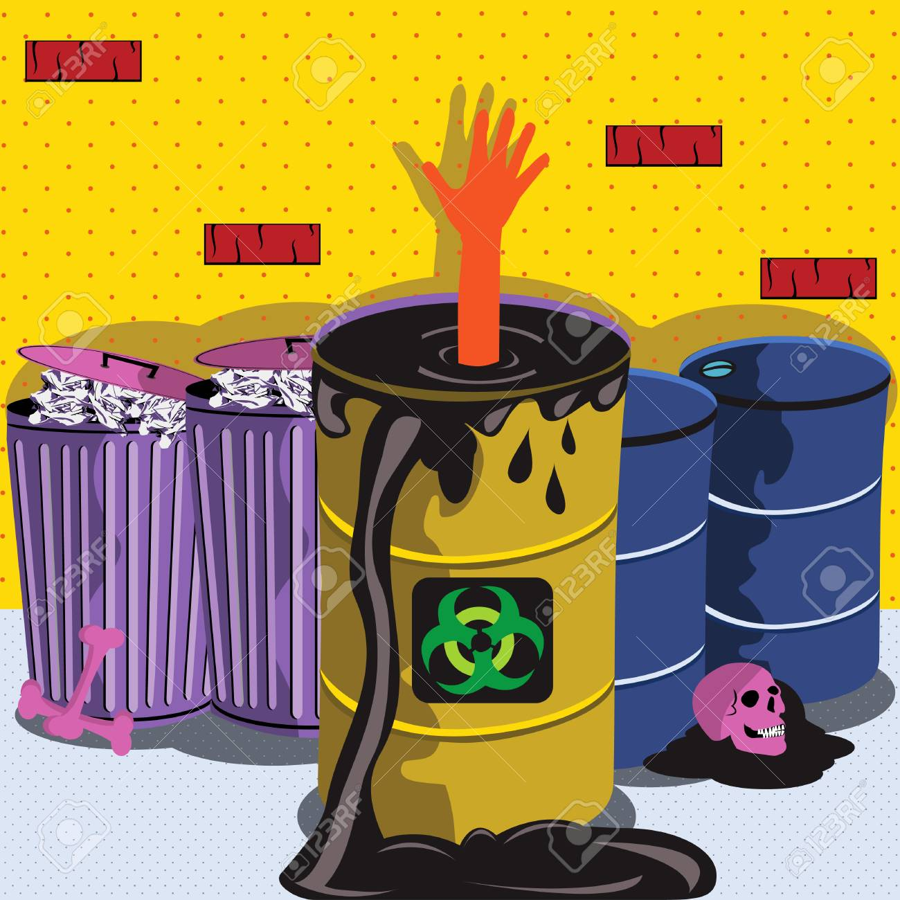 Vector illustration of a Prawning in biohazard barrel Stock Vector - 5387469
