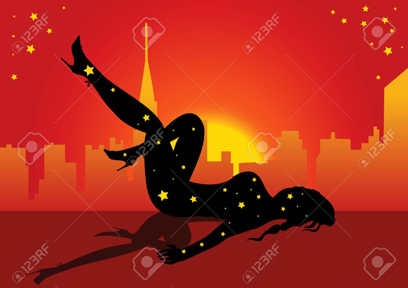 Vector illustration of a young woman silhouette with background Stock Vector - 5387531