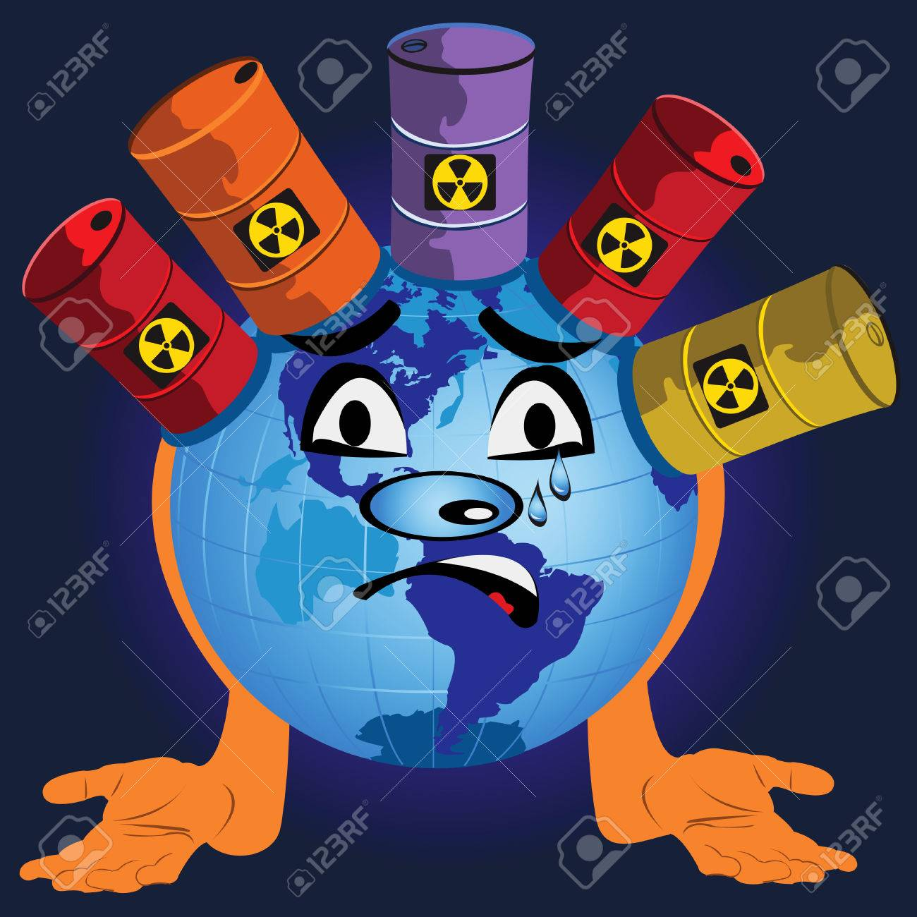 Fun vector illustration of a globe with toxic barrels. Stock Vector - 5387537