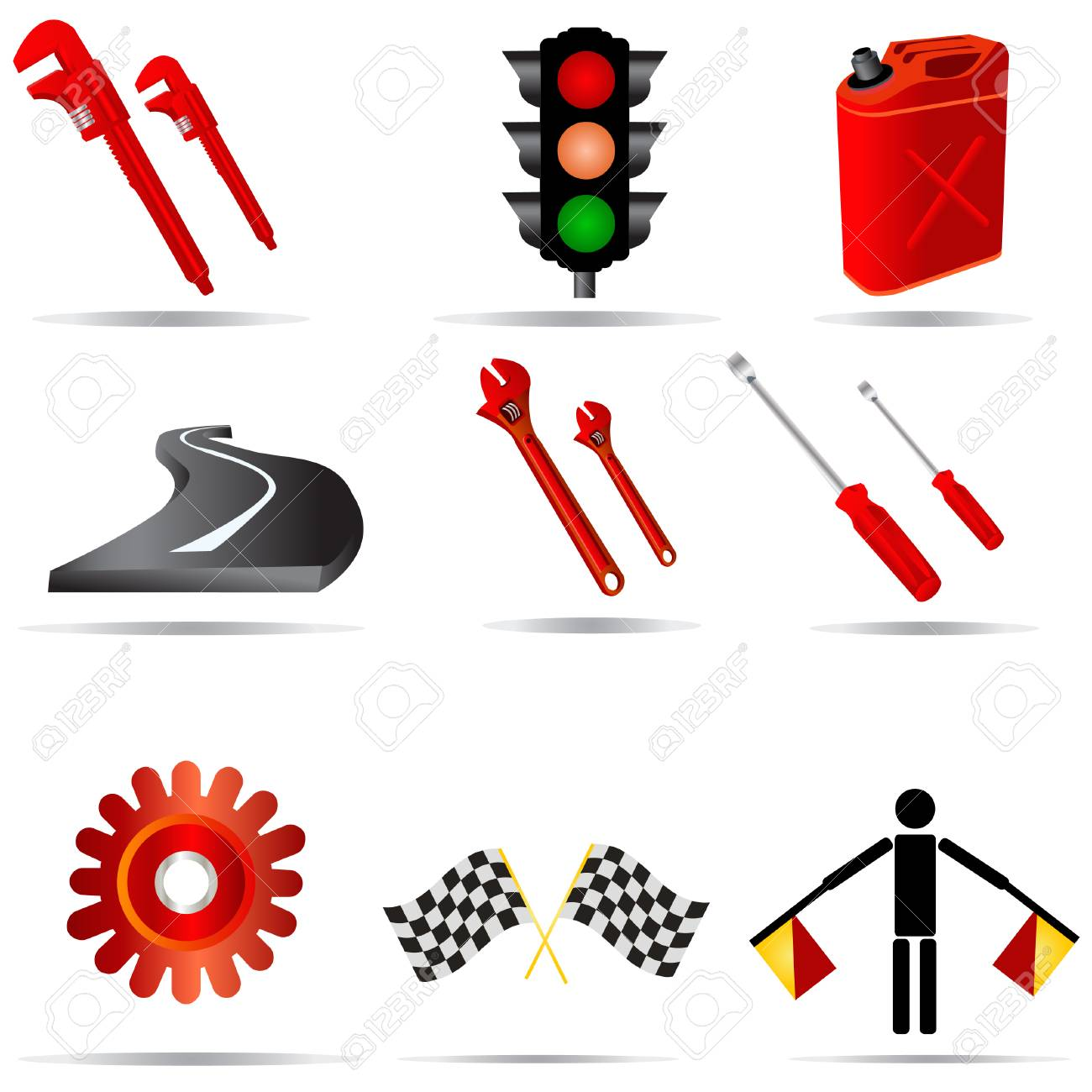 Vector illustration of nine colored transport icons. Stock Vector - 5468581