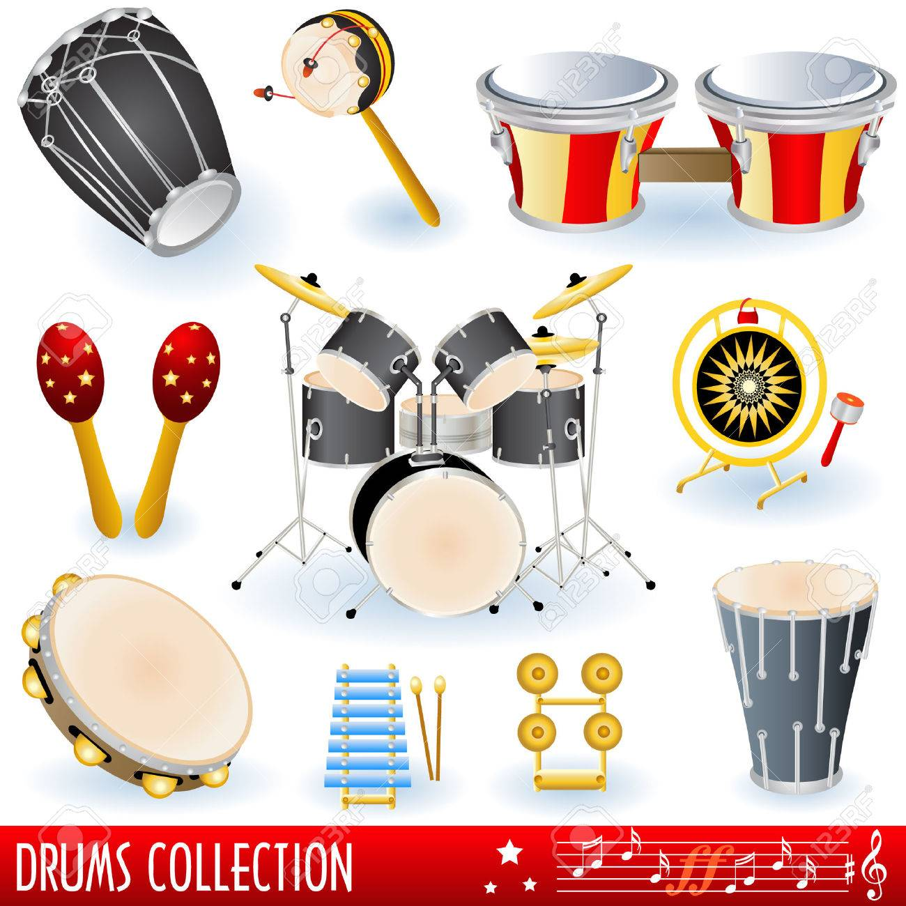 A  collection of drums musical instruments. Stock Vector - 6556315